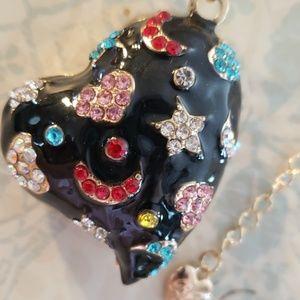 NWT Betsy Johnson Black Heart Moon Stars Necklace